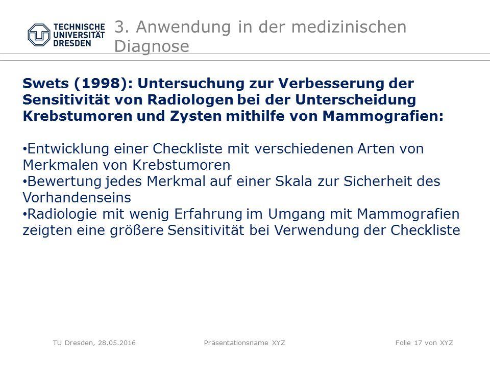TU Dresden, 28.05.2016Präsentationsname XYZFolie 17 von XYZ 3. Anwendung in der medizinischen Diagnose Swets (1998): Untersuchung zur Verbesserung der