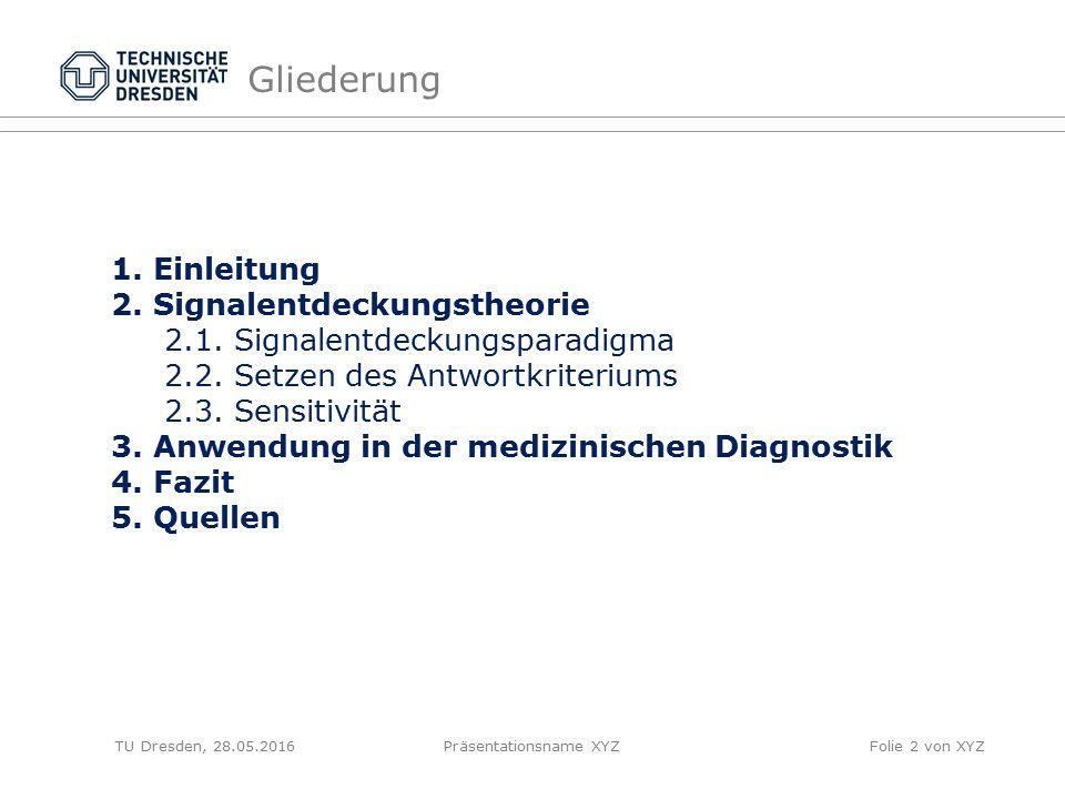 TU Dresden, 28.05.2016Präsentationsname XYZFolie 2 von XYZ Gliederung 1. Einleitung 2. Signalentdeckungstheorie 2.1. Signalentdeckungsparadigma 2.2. S