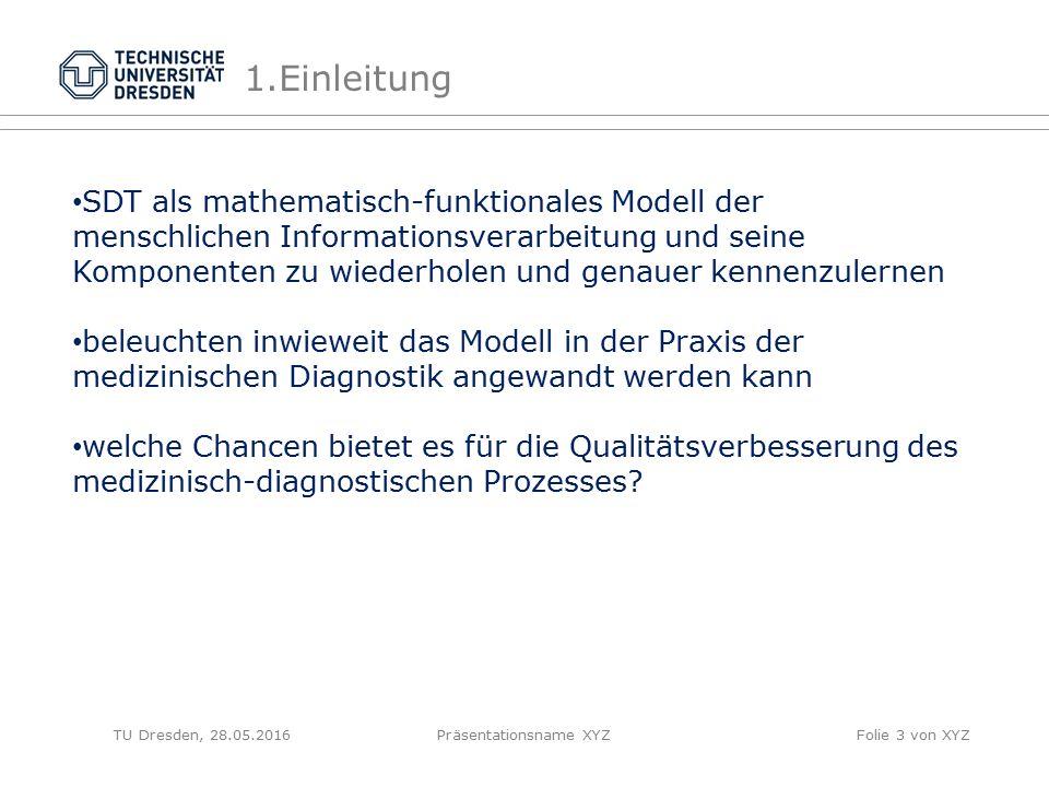 TU Dresden, 28.05.2016Präsentationsname XYZFolie 3 von XYZ 1.Einleitung SDT als mathematisch-funktionales Modell der menschlichen Informationsverarbei