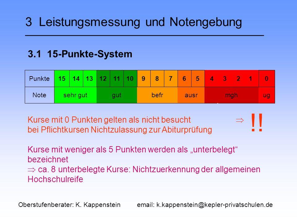 """3 Leistungsmessung und Notengebung ___________________________________ 3.1 15-Punkte-System Punkte151413121110987650 Notesehr gutgutbefrausrmghug Kurse mit 0 Punkten gelten als nicht besucht  bei Pflichtkursen Nichtzulassung zur Abiturprüfung Kurse mit weniger als 5 Punkten werden als """"unterbelegt bezeichnet  ca."""