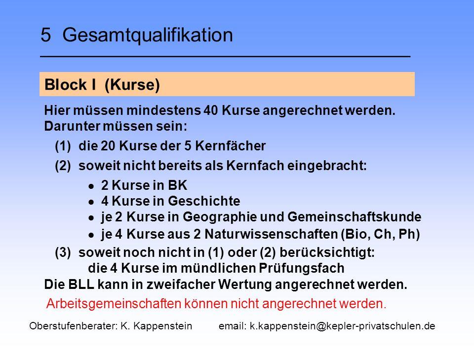 5 Gesamtqualifikation __________________________________ Block I (Kurse) Die BLL kann in zweifacher Wertung angerechnet werden.