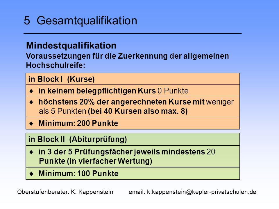 5 Gesamtqualifikation __________________________________ Mindestqualifikation in Block II (Abiturprüfung) in Block I (Kurse) Voraussetzungen für die Zuerkennung der allgemeinen Hochschulreife:  in keinem belegpflichtigen Kurs 0 Punkte  höchstens 20% der angerechneten Kurse mit weniger als 5 Punkten (bei 40 Kursen also max.