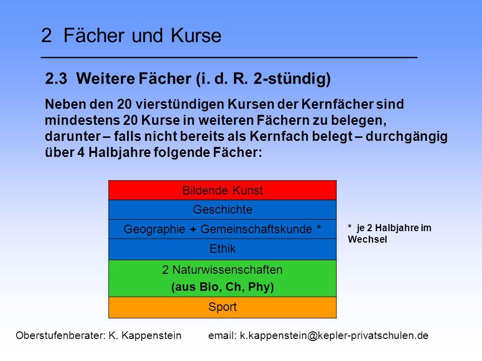 2 Fächer und Kurse __________________________________ 2.3 Weitere Fächer (i.