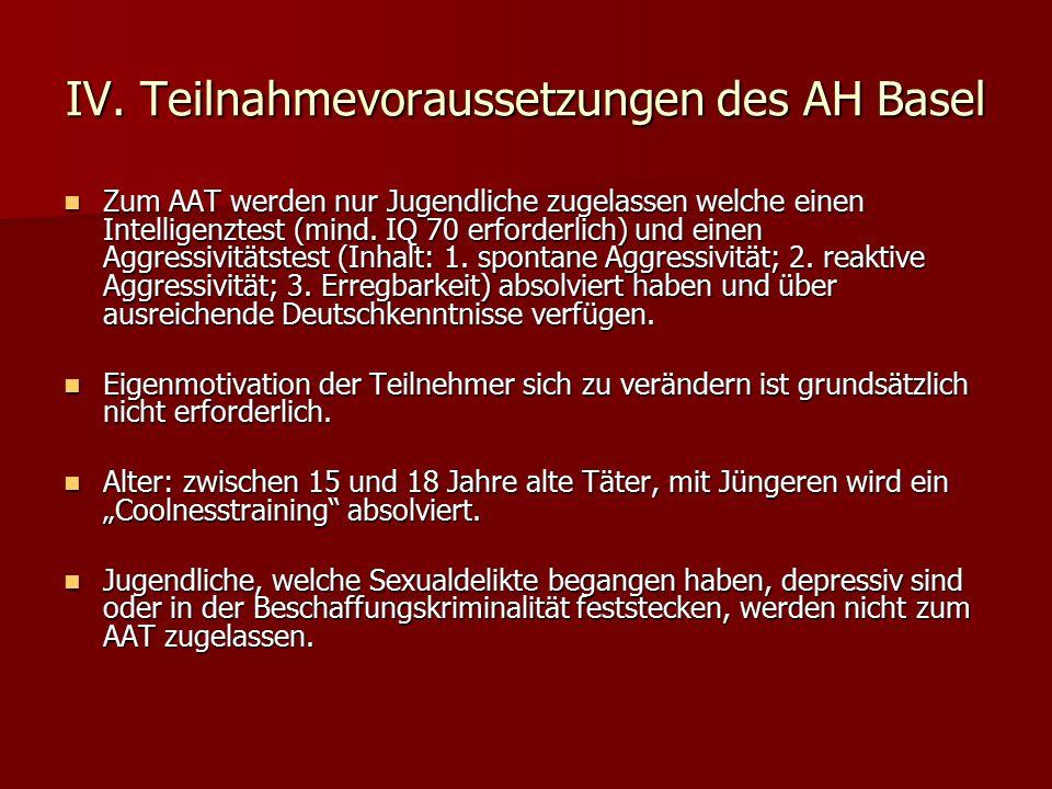 IV. Teilnahmevoraussetzungen des AH Basel Zum AAT werden nur Jugendliche zugelassen welche einen Intelligenztest (mind. IQ 70 erforderlich) und einen