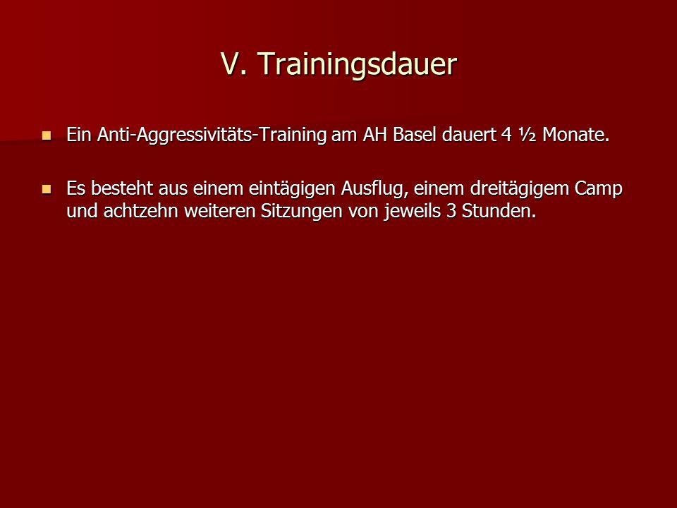 V. Trainingsdauer Ein Anti-Aggressivitäts-Training am AH Basel dauert 4 ½ Monate. Ein Anti-Aggressivitäts-Training am AH Basel dauert 4 ½ Monate. Es b