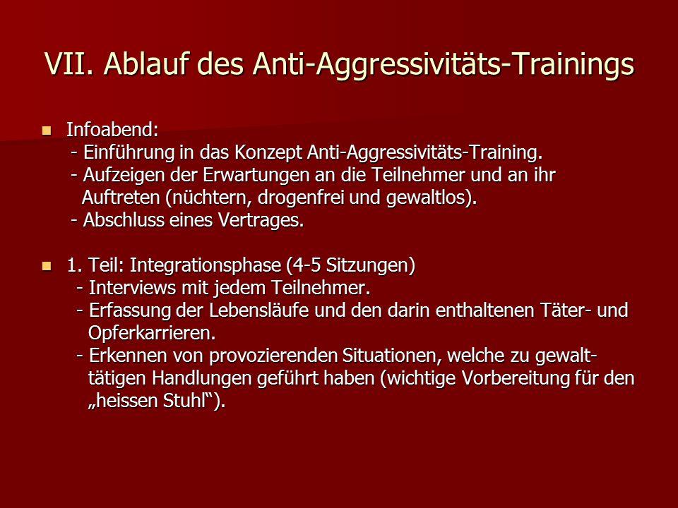 VII. Ablauf des Anti-Aggressivitäts-Trainings Infoabend: Infoabend: - Einführung in das Konzept Anti-Aggressivitäts-Training. - Einführung in das Konz