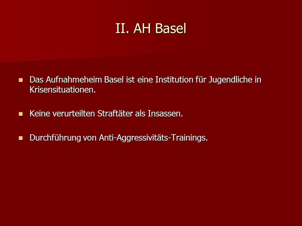 II. AH Basel Das Aufnahmeheim Basel ist eine Institution für Jugendliche in Krisensituationen. Das Aufnahmeheim Basel ist eine Institution für Jugendl