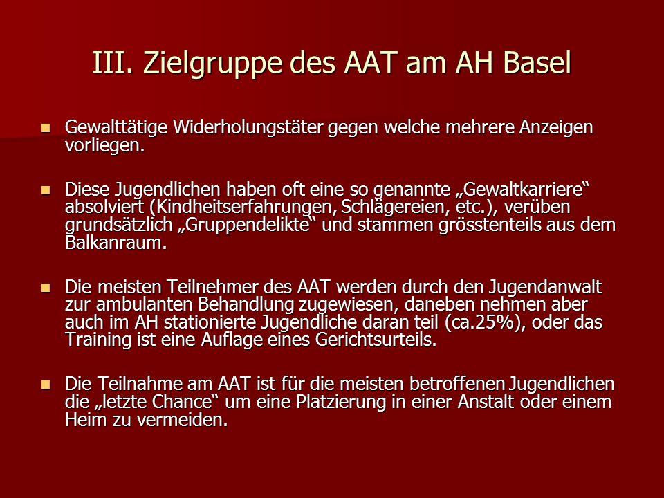 III. Zielgruppe des AAT am AH Basel Gewalttätige Widerholungstäter gegen welche mehrere Anzeigen vorliegen. Gewalttätige Widerholungstäter gegen welch