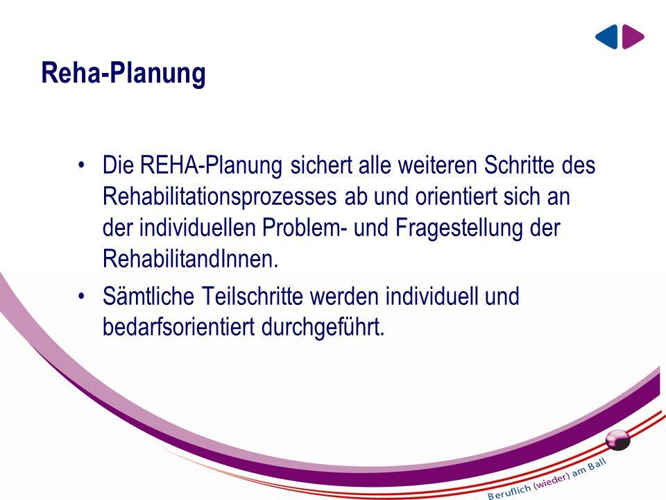 EIN UNTERNEHMEN DER BBRZ GRUPPE Reha-Planung Die REHA-Planung sichert alle weiteren Schritte des Rehabilitationsprozesses ab und orientiert sich an der individuellen Problem- und Fragestellung der RehabilitandInnen.