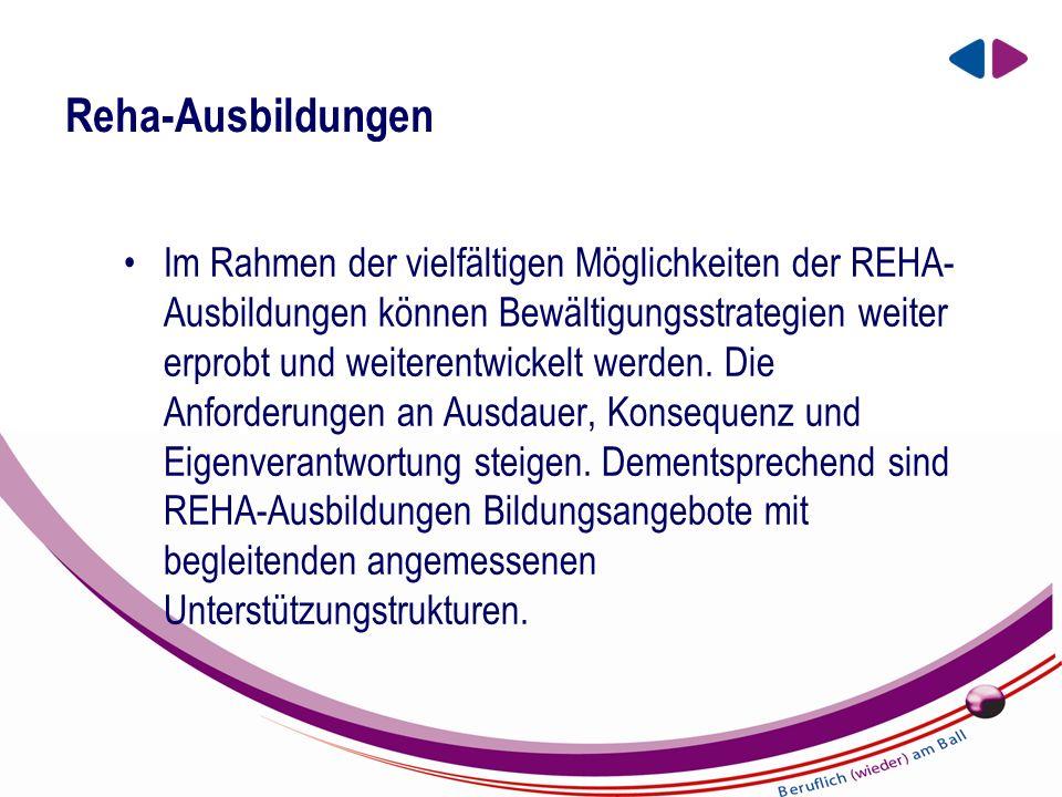 EIN UNTERNEHMEN DER BBRZ GRUPPE Reha-Ausbildungen Im Rahmen der vielfältigen Möglichkeiten der REHA- Ausbildungen können Bewältigungsstrategien weiter erprobt und weiterentwickelt werden.