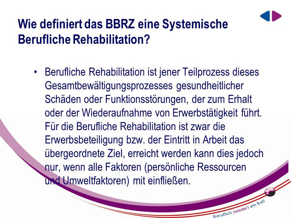 EIN UNTERNEHMEN DER BBRZ GRUPPE Wie definiert das BBRZ eine Systemische Berufliche Rehabilitation.