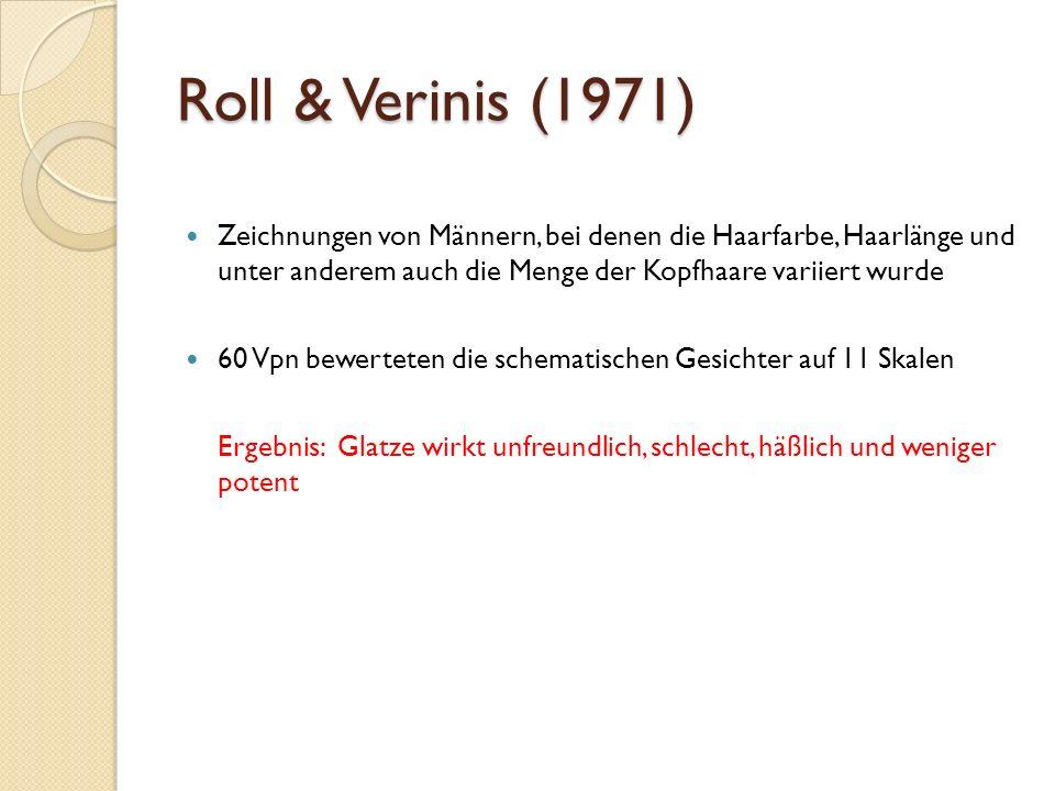 Roll & Verinis (1971) Zeichnungen von Männern, bei denen die Haarfarbe, Haarlänge und unter anderem auch die Menge der Kopfhaare variiert wurde 60 Vpn bewerteten die schematischen Gesichter auf 11 Skalen Ergebnis: Glatze wirkt unfreundlich, schlecht, häßlich und weniger potent