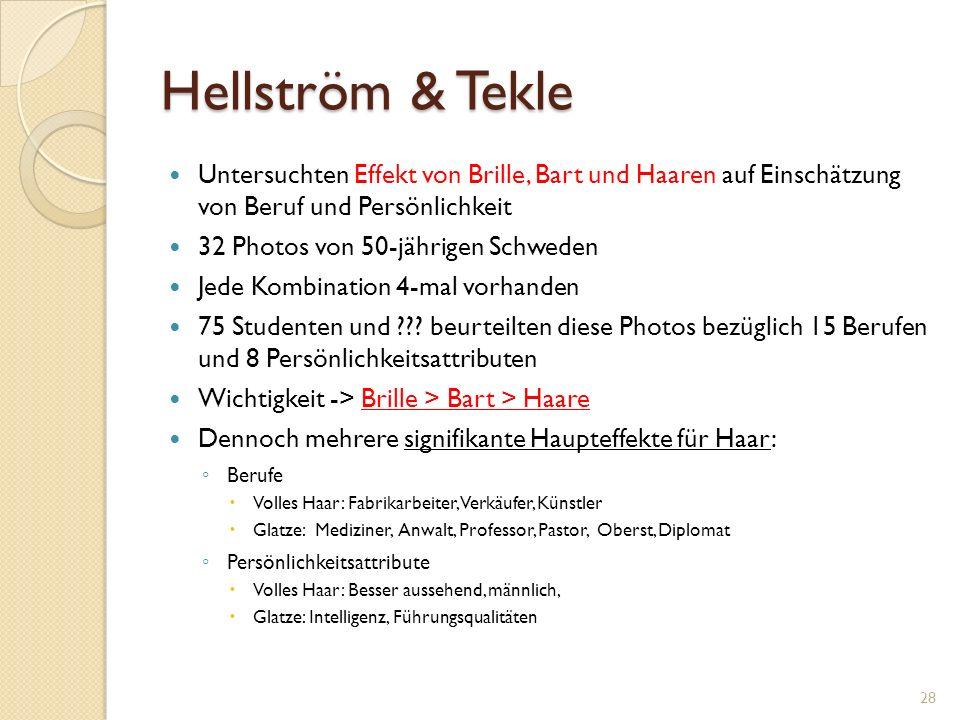 Hellström & Tekle Untersuchten Effekt von Brille, Bart und Haaren auf Einschätzung von Beruf und Persönlichkeit 32 Photos von 50-jährigen Schweden Jede Kombination 4-mal vorhanden 75 Studenten und .