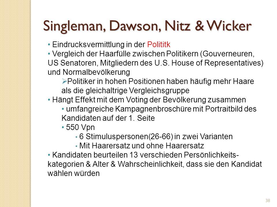 Singleman, Dawson, Nitz & Wicker 38 Eindrucksvermittlung in der Polititk Vergleich der Haarfülle zwischen Politikern (Gouverneuren, US Senatoren, Mitgliedern des U.S.