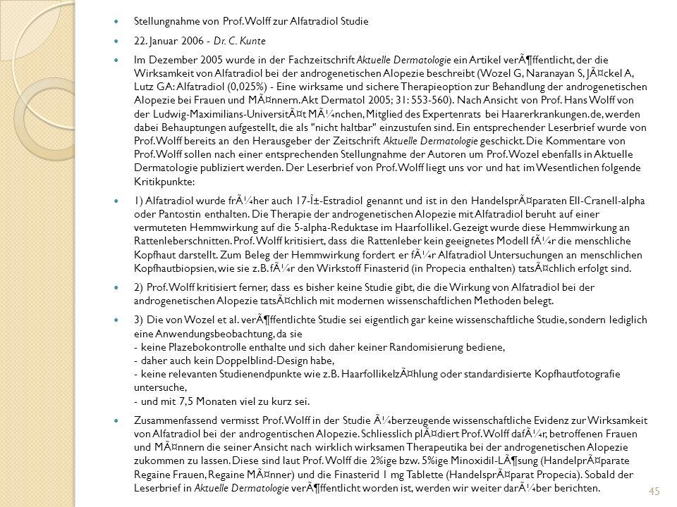Stellungnahme von Prof. Wolff zur Alfatradiol Studie 22.
