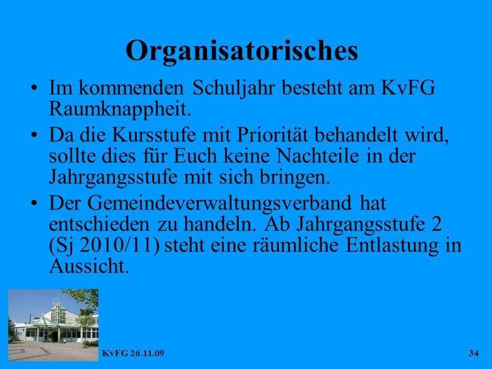 KvFG 26.11.0934 Organisatorisches Im kommenden Schuljahr besteht am KvFG Raumknappheit.