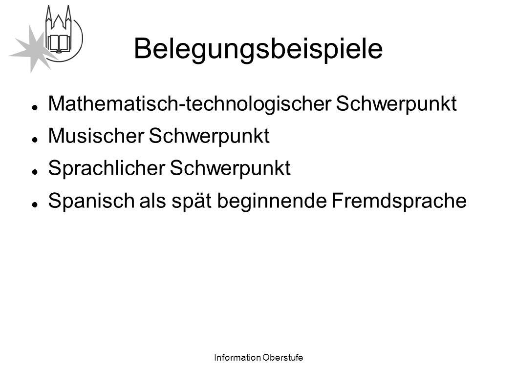 Information Oberstufe Belegungsbeispiele Mathematisch-technologischer Schwerpunkt Musischer Schwerpunkt Sprachlicher Schwerpunkt Spanisch als spät beginnende Fremdsprache
