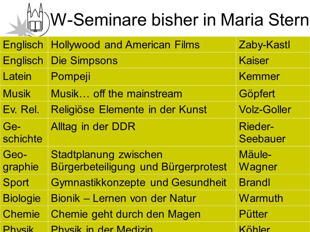 Information Oberstufe W-Seminare bisher in Maria Stern EnglischHollywood and American FilmsZaby-Kastl EnglischDie SimpsonsKaiser LateinPompejiKemmer MusikMusik… off the mainstreamGöpfert Ev.