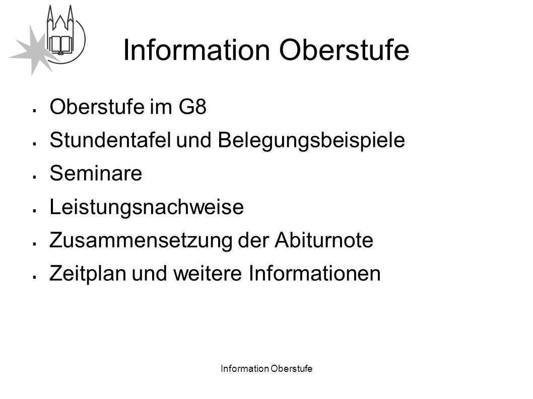 Information Oberstufe Oberstufe des Gymnasiums in Bayern 10.