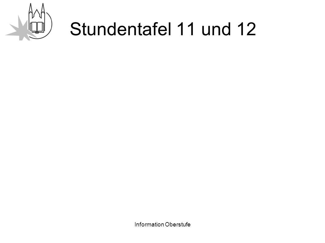 Information Oberstufe Stundentafel 11 und 12