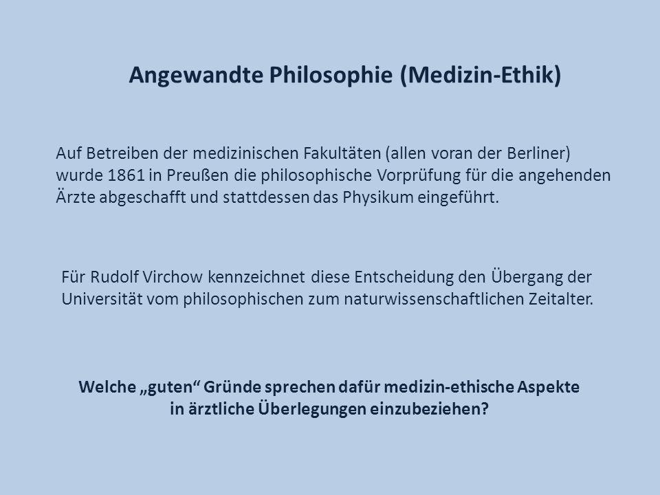 Auf Betreiben der medizinischen Fakultäten (allen voran der Berliner) wurde 1861 in Preußen die philosophische Vorprüfung für die angehenden Ärzte abg
