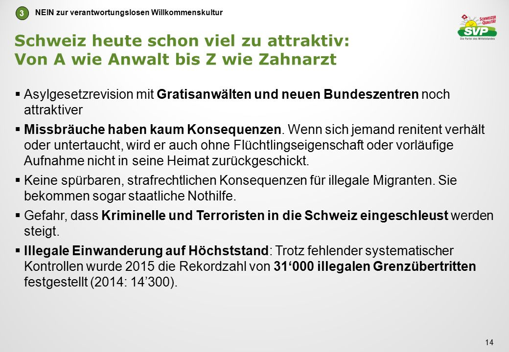 Schweiz heute schon viel zu attraktiv: Von A wie Anwalt bis Z wie Zahnarzt  Asylgesetzrevision mit Gratisanwälten und neuen Bundeszentren noch attraktiver  Missbräuche haben kaum Konsequenzen.