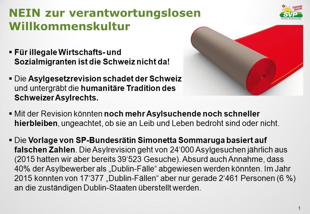 NEIN zur verantwortungslosen Willkommenskultur  Für illegale Wirtschafts- und Sozialmigranten ist die Schweiz nicht da!  Die Asylgesetzrevision scha
