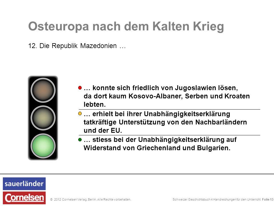 Schweizer Geschichtsbuch 4 Handreichungen für den Unterricht Folie 0© 2012 Cornelsen Verlag, Berlin. Alle Rechte vorbehalten. … stiess bei der Unabhän
