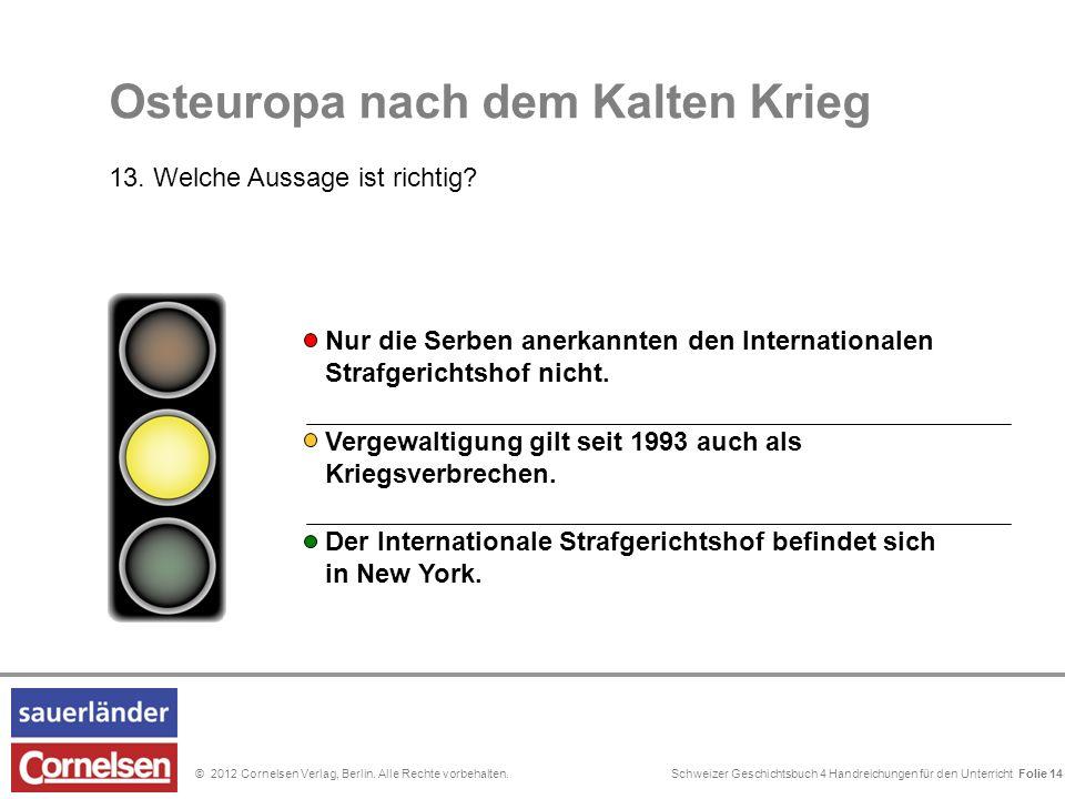 Schweizer Geschichtsbuch 4 Handreichungen für den Unterricht Folie 0© 2012 Cornelsen Verlag, Berlin. Alle Rechte vorbehalten. Nur die Serben anerkannt