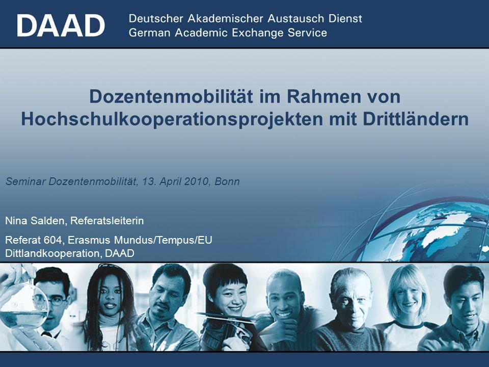 Dozentenmobilität im Rahmen von Hochschulkooperationsprojekten mit Drittländern Seminar Dozentenmobilität, 13.