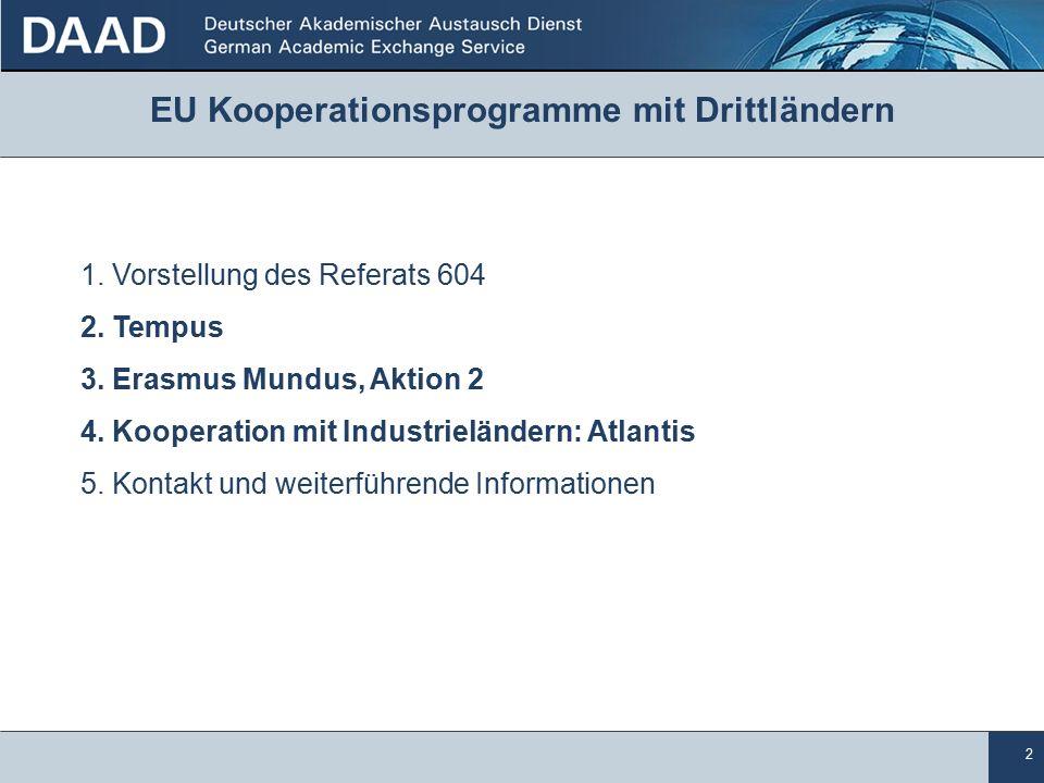 2 EU Kooperationsprogramme mit Drittländern 1.Vorstellung des Referats 604 2.