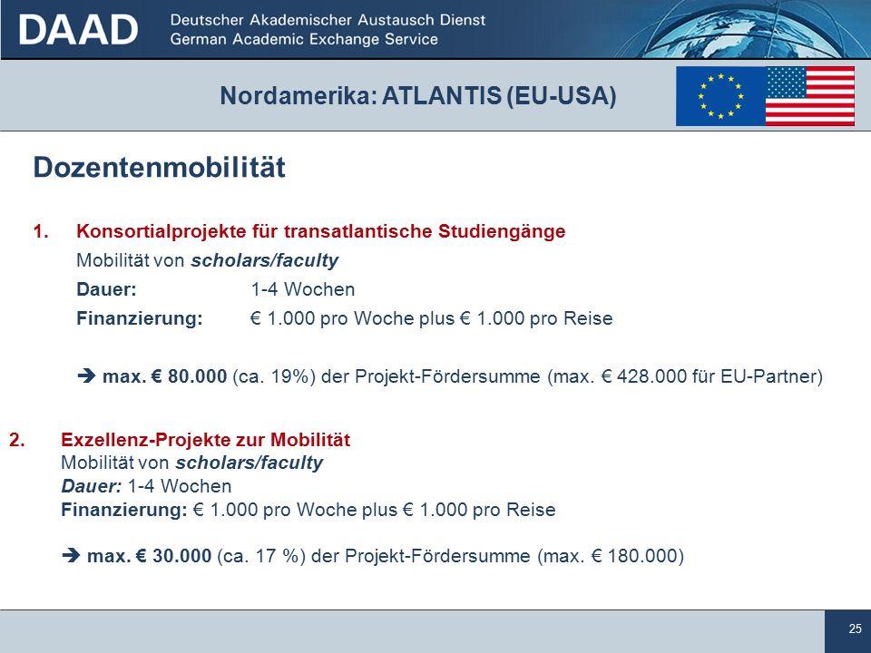 25 Nordamerika: ATLANTIS (EU-USA) Dozentenmobilität 1.Konsortialprojekte für transatlantische Studiengänge Mobilität von scholars/faculty Dauer: 1-4 Wochen Finanzierung: € 1.000 pro Woche plus € 1.000 pro Reise  max.