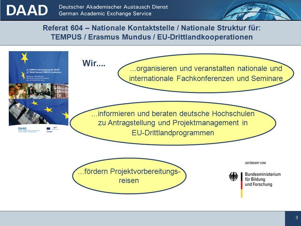 3...organisieren und veranstalten nationale und internationale Fachkonferenzen und Seminare...fördern Projektvorbereitungs- reisen...informieren und beraten deutsche Hochschulen zu Antragstellung und Projektmanagement in EU-Drittlandprogrammen Referat 604 – Nationale Kontaktstelle / Nationale Struktur für: TEMPUS / Erasmus Mundus / EU-Drittlandkooperationen Wir....