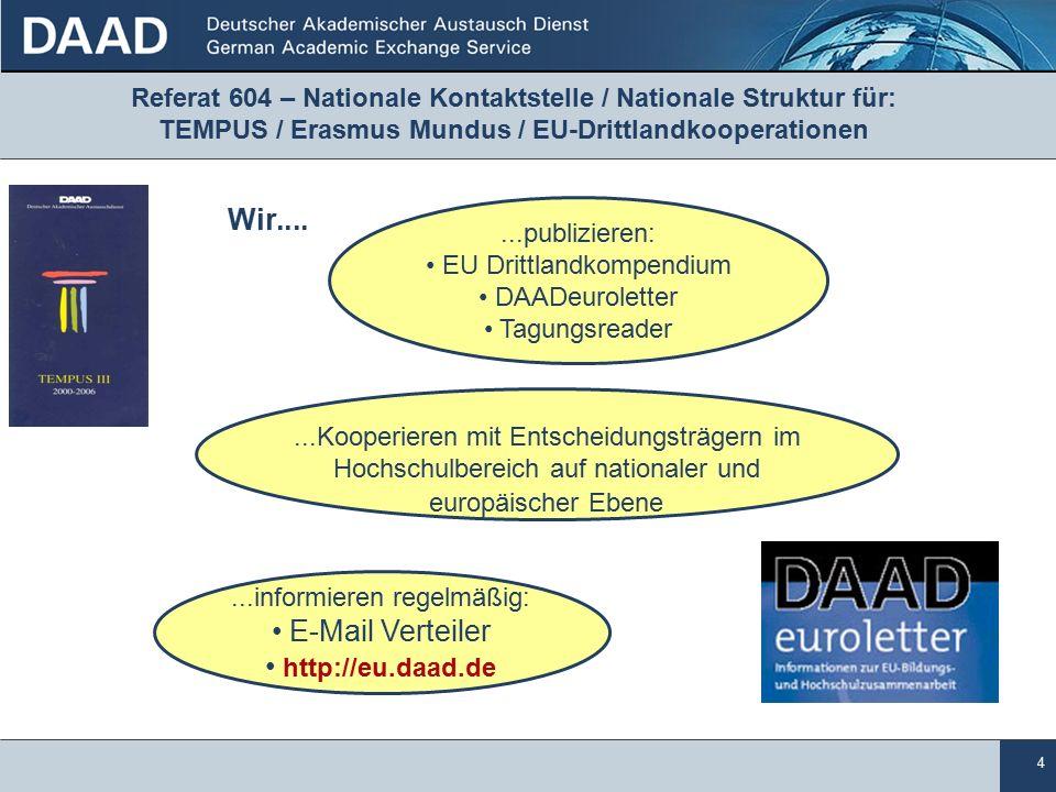 4 Referat 604 – Nationale Kontaktstelle / Nationale Struktur für: TEMPUS / Erasmus Mundus / EU-Drittlandkooperationen...publizieren: EU Drittlandkompendium DAADeuroletter Tagungsreader...informieren regelmäßig: E-Mail Verteiler http://eu.daad.de...Kooperieren mit Entscheidungsträgern im Hochschulbereich auf nationaler und europäischer Ebene Wir....