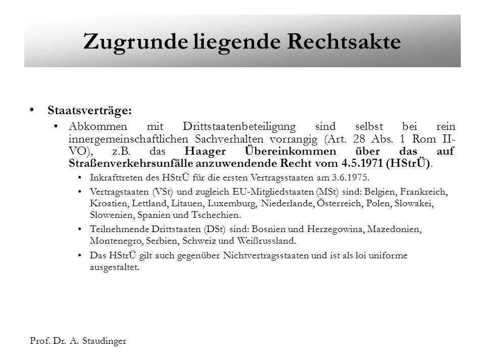 Prof. Dr. A. Staudinger. A. Staudinger Zugrunde liegende Rechtsakte Staatsverträge: Abkommen mit Drittstaatenbeteiligung sind selbst bei rein innergem