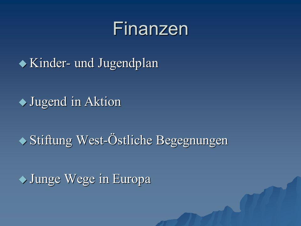Finanzen  Kinder- und Jugendplan  Jugend in Aktion  Stiftung West-Östliche Begegnungen  Junge Wege in Europa