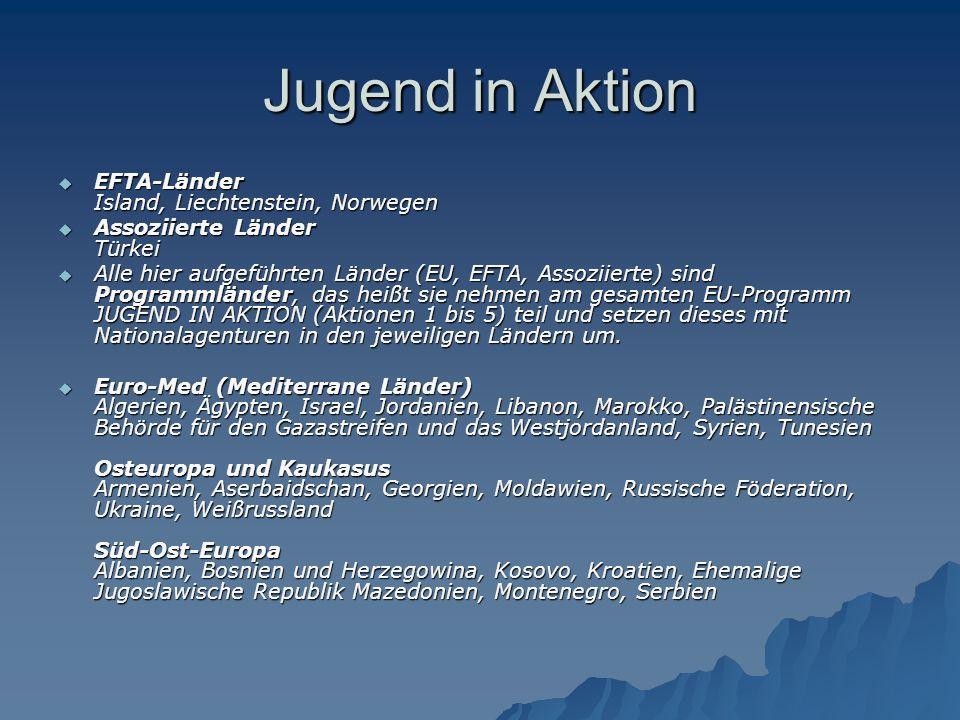 Jugend in Aktion  EFTA-Länder Island, Liechtenstein, Norwegen  Assoziierte Länder Türkei  Alle hier aufgeführten Länder (EU, EFTA, Assoziierte) sind Programmländer, das heißt sie nehmen am gesamten EU-Programm JUGEND IN AKTION (Aktionen 1 bis 5) teil und setzen dieses mit Nationalagenturen in den jeweiligen Ländern um.