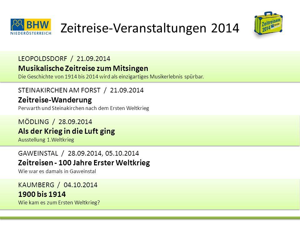 Zeitreise-Veranstaltungen 2014 LEOPOLDSDORF / 21.09.2014 Musikalische Zeitreise zum Mitsingen Die Geschichte von 1914 bis 2014 wird als einzigartiges Musikerlebnis spürbar.