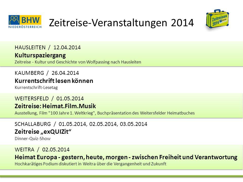 Zeitreise-Veranstaltungen 2014 MISTELBACH / 04.05.2014, 27.07.2014 Verbrannte Erde 100 Jahre Eintritt in den 1.