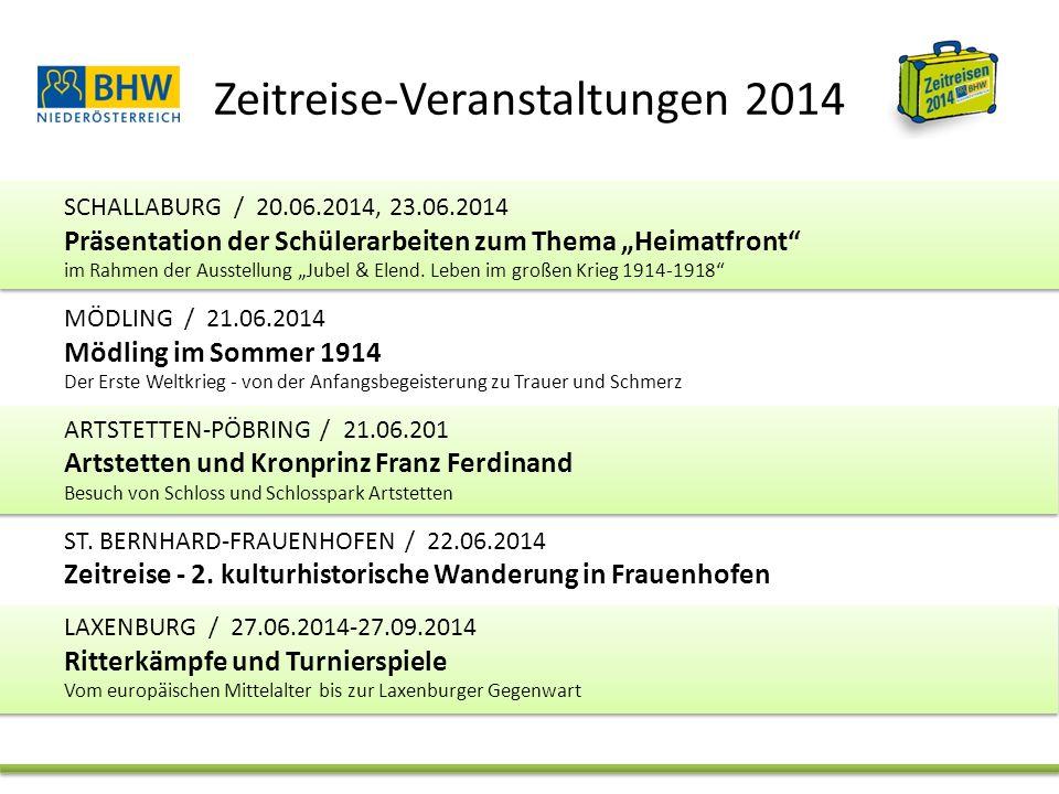 """Zeitreise-Veranstaltungen 2014 SCHALLABURG / 20.06.2014, 23.06.2014 Präsentation der Schülerarbeiten zum Thema """"Heimatfront im Rahmen der Ausstellung """"Jubel & Elend."""