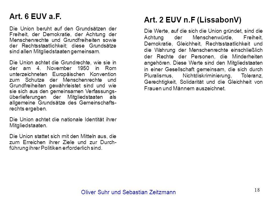 Oliver Suhr und Sebastian Zeitzmann 18 Art. 2 EUV n.F (LissabonV) Die Werte, auf die sich die Union gründet, sind die Achtung der Menschenwürde, Freih