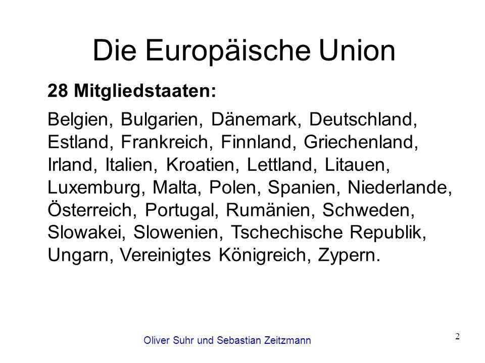 Oliver Suhr und Sebastian Zeitzmann 2 Die Europäische Union Belgien, Bulgarien, Dänemark, Deutschland, Estland, Frankreich, Finnland, Griechenland, Ir
