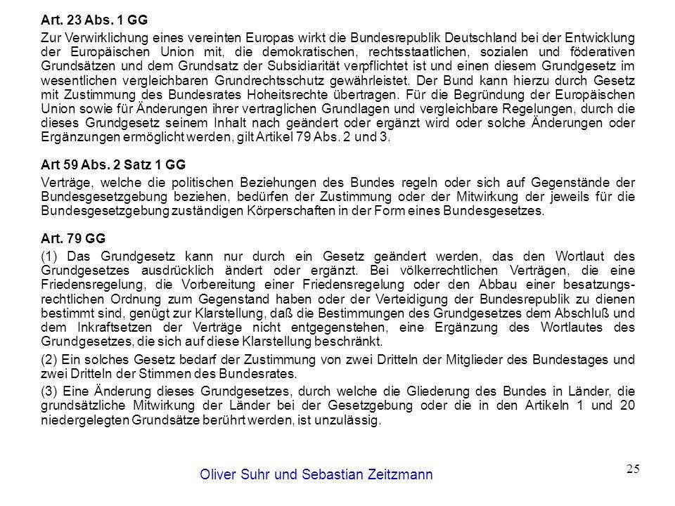 Oliver Suhr und Sebastian Zeitzmann 25 Art. 23 Abs. 1 GG Zur Verwirklichung eines vereinten Europas wirkt die Bundesrepublik Deutschland bei der Entwi
