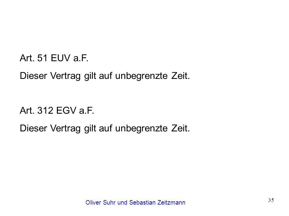 Oliver Suhr und Sebastian Zeitzmann 35 Art. 51 EUV a.F. Dieser Vertrag gilt auf unbegrenzte Zeit. Art. 312 EGV a.F. Dieser Vertrag gilt auf unbegrenzt