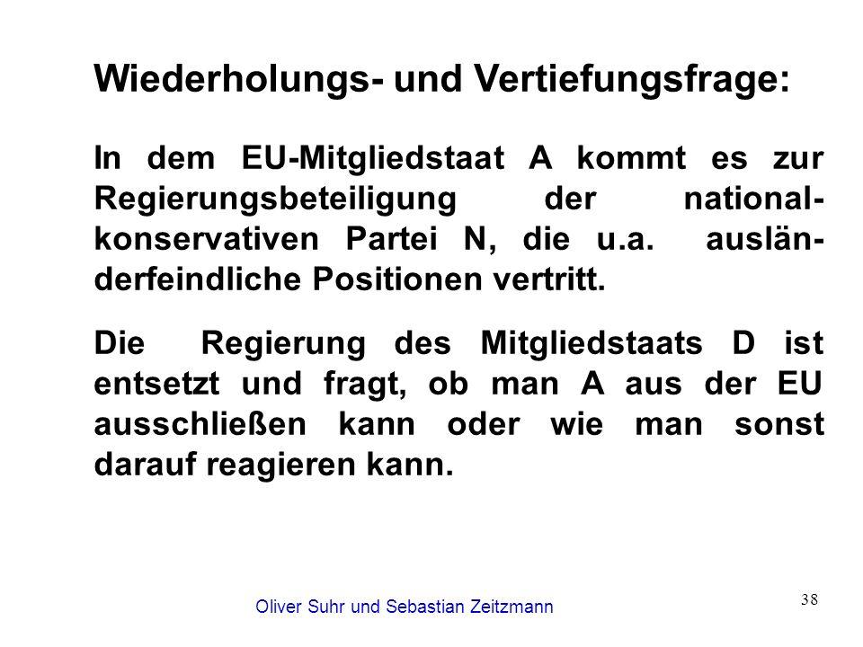 Oliver Suhr und Sebastian Zeitzmann 38 Wiederholungs- und Vertiefungsfrage: In dem EU-Mitgliedstaat A kommt es zur Regierungsbeteiligung der national-