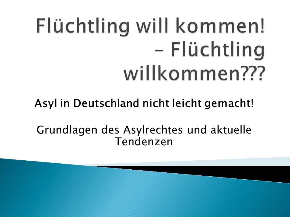Asyl in Deutschland nicht leicht gemacht! Grundlagen des Asylrechtes und aktuelle Tendenzen