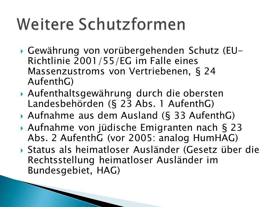  Gewährung von vorübergehenden Schutz (EU- Richtlinie 2001/55/EG im Falle eines Massenzustroms von Vertriebenen, § 24 AufenthG)  Aufenthaltsgewährun