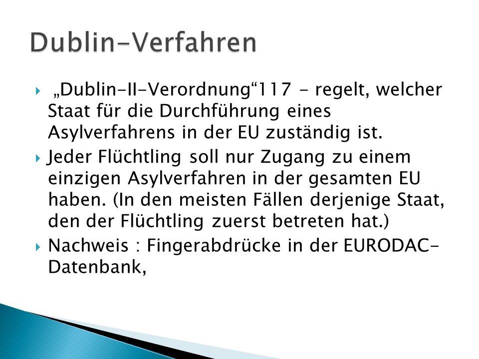 """ """"Dublin-II-Verordnung""""117 - regelt, welcher Staat für die Durchführung eines Asylverfahrens in der EU zuständig ist.  Jeder Flüchtling soll nur Zug"""