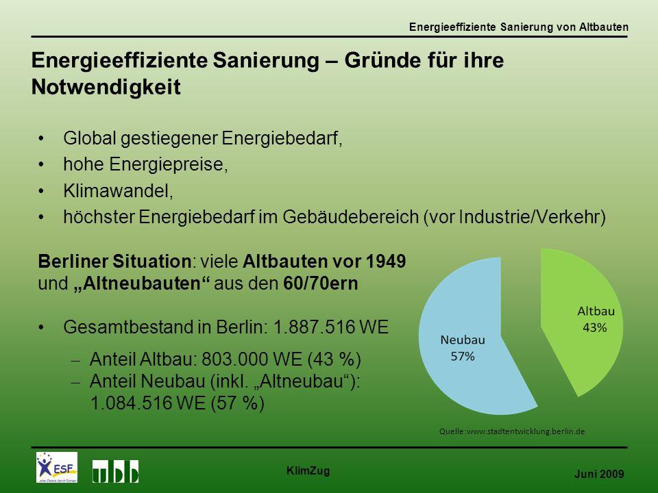 """Juni 2009 KlimZug Global gestiegener Energiebedarf, hohe Energiepreise, Klimawandel, höchster Energiebedarf im Gebäudebereich (vor Industrie/Verkehr) Energieeffiziente Sanierung – Gründe für ihre Notwendigkeit Quelle:www.stadtentwicklung.berlin.de Energieeffiziente Sanierung von Altbauten Berliner Situation: viele Altbauten vor 1949 und """"Altneubauten aus den 60/70ern Gesamtbestand in Berlin: 1.887.516 WE  Anteil Altbau: 803.000 WE (43 %)  Anteil Neubau (inkl."""