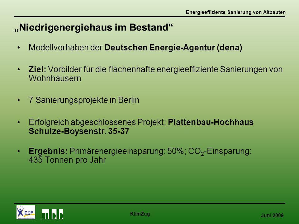 Juni 2009 KlimZug Modellvorhaben der Deutschen Energie-Agentur (dena) Ziel: Vorbilder für die flächenhafte energieeffiziente Sanierungen von Wohnhäusern 7 Sanierungsprojekte in Berlin Erfolgreich abgeschlossenes Projekt: Plattenbau-Hochhaus Schulze-Boysenstr.